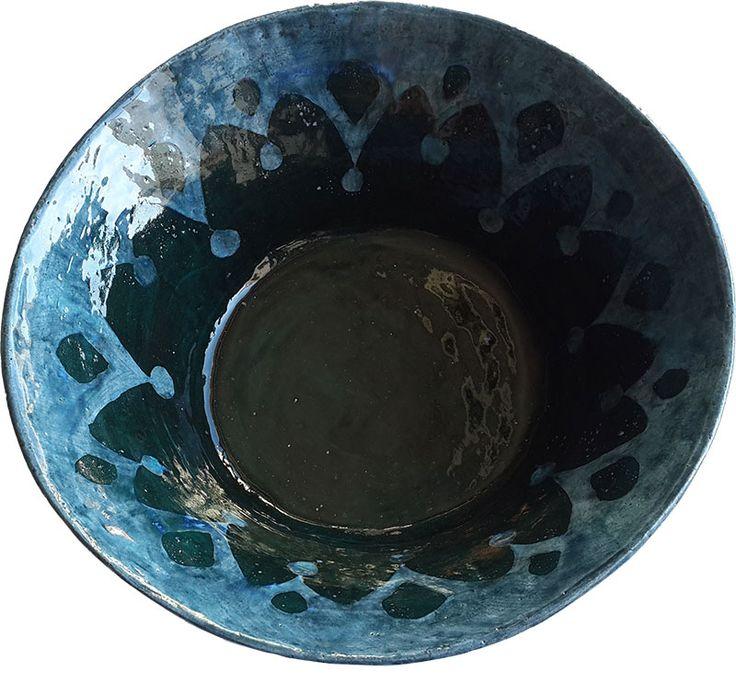 Large blue salad/fruit bowl, handmade and glazed ceramic.  - Rowena Quinan
