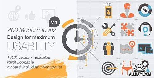 400 Animated Icons v.4 - Project for After Effects (Videohive)