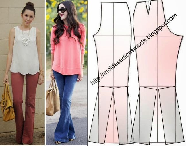 FOOTSTEPS PANTS BELL MOUTH OR FLARE - Fashion Templates for Measure