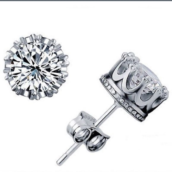 NEW!!! Silver Plated Crown & Crystal Studs JUST ARRIVED!!! Silver plated. Crystal center stone. Crown setting. Stud earrings. Brilliant sparkle! Jewelry Earrings