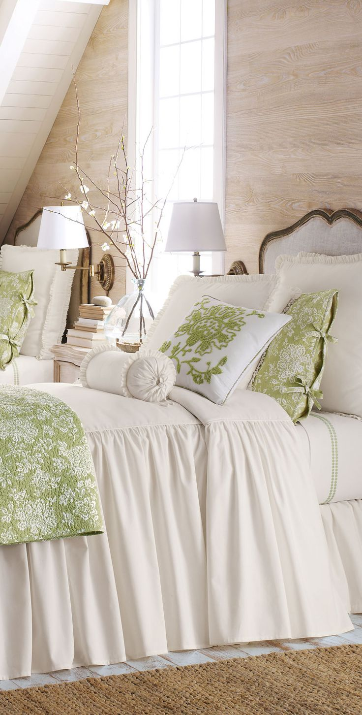 Mint green and white together; long gathered coverlet, sconces, natural rug - Legacy Home Hampton