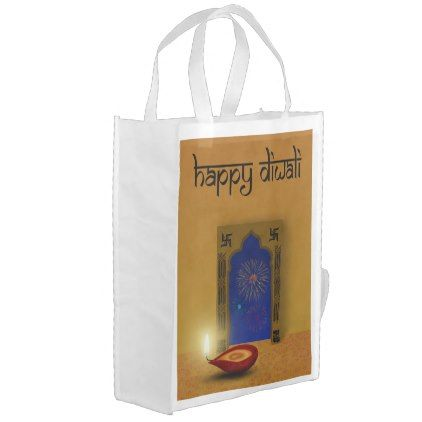Festive Happy Diwali Fireworks - Reusable Bag - light gifts template style unique special diy