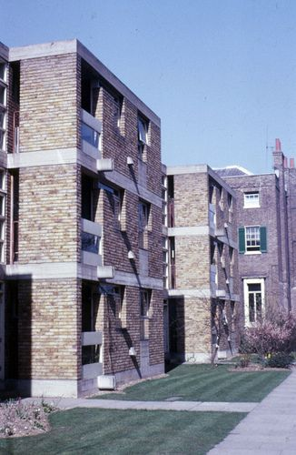 James Stirling (1926-92) & James Gowan (1923-): 3 apartment blocks, Langham House Close, 1955, for Manousso Group as a speculative development. They were built in 1957-58 on a site that was formerly the back garden of a Georgian manor house.