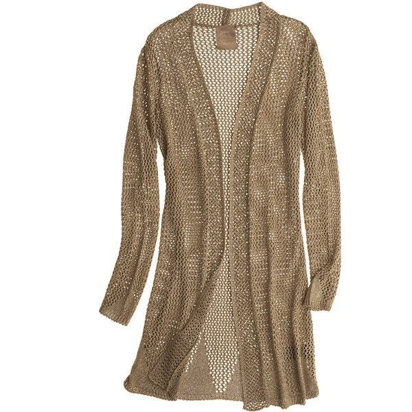 KRISTINA TI Tricot Metallic Cardigan ($299) ❤ liked on Polyvore featuring tops, cardigans, sweaters, jackets, outerwear, long boyfriend cardigan, long tops, brown tops, open front cardigan and metallic cardigan