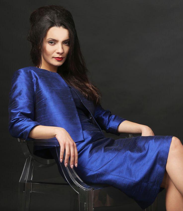 Blue as the night YOKKO | ss16 #blue #silk #taffeta #jacket #evening #yokko #elegant #feminity