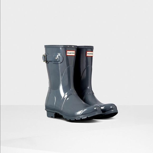 Glossy short Hunter Rain Boots Size 6 Glossy Graphite Rain Boots. Only worn once. Like new condition. Box included. Hunter Boots Shoes Winter & Rain Boots