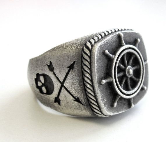 Solid .925 oxydized sterling silver Captain wheel by lorgjewels, $250.00