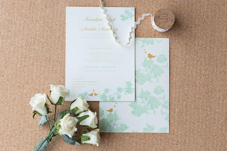 Cute wedding invitations, decorated with birds in love
