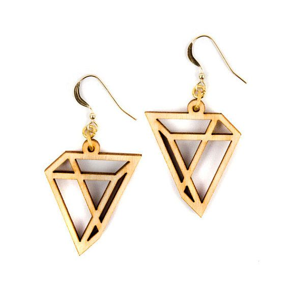 Triangles Laser Cut Wood Earrings / Geometric Earrings / Modern