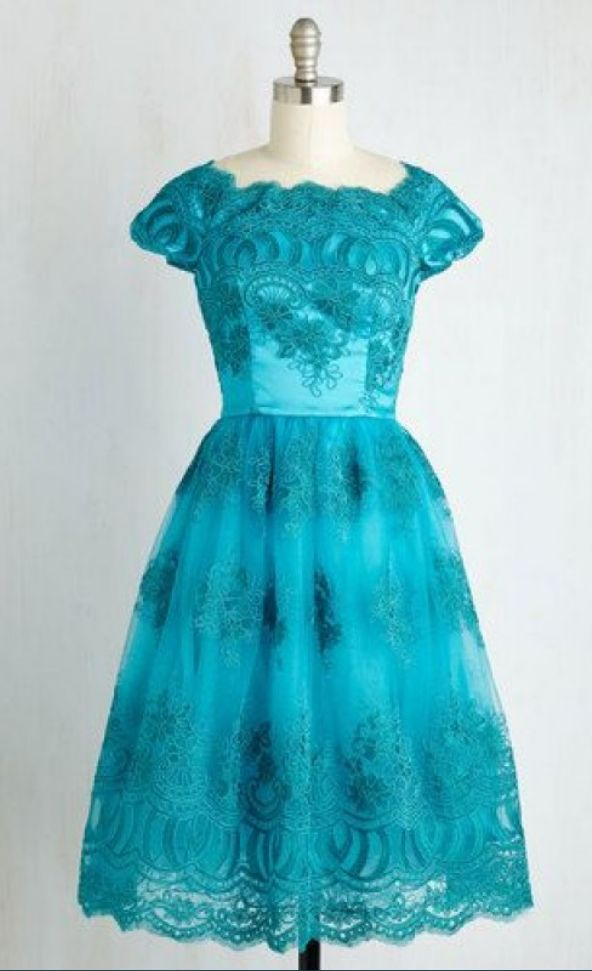 Capped Sleeves Turquoise Homecoming Dresses A-Line/Column Lace