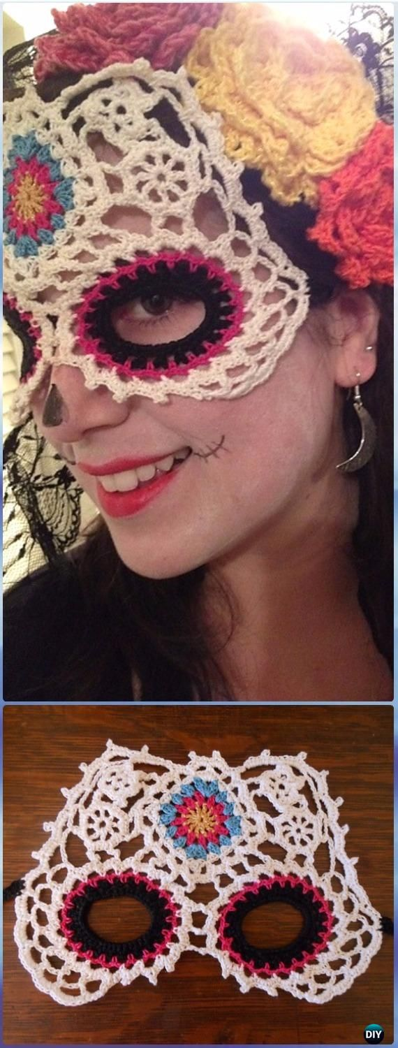 DIA DE LOS MUERTOS/DAY OF THE DEAD~Crochet Sugar Skull Mask Paid Pattern - Crochet Skull Ideas Free Patterns