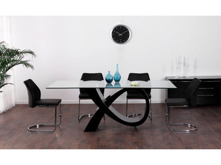 Table manger etreinte 8 couverts mdf et verre tremp for Table salle a manger verre noir