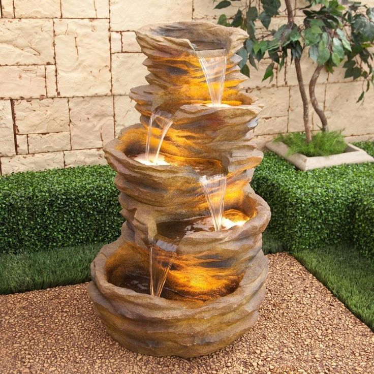 Indoor/Outdoor Waterfall Water Fountain 5 Tier Lights Home Garden Patio  Decor #Alpine