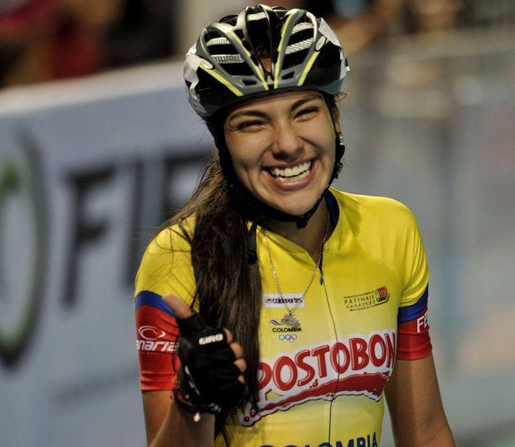 Daniela Mendoza, campeona mundial de patinaje en 15.000 metros eliminación juveniles, el 12 de septiembre en China.