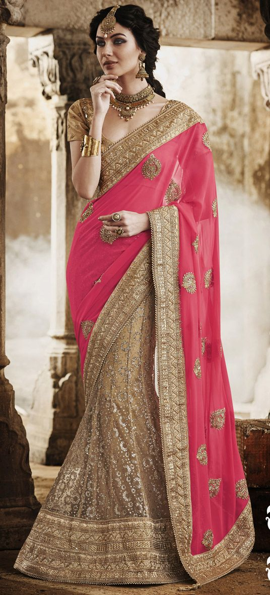 usd 16754 pink faux georgette wedding lehenga saree 47367
