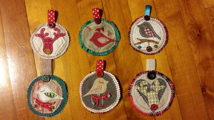 Recycled fabric Christmas decorations