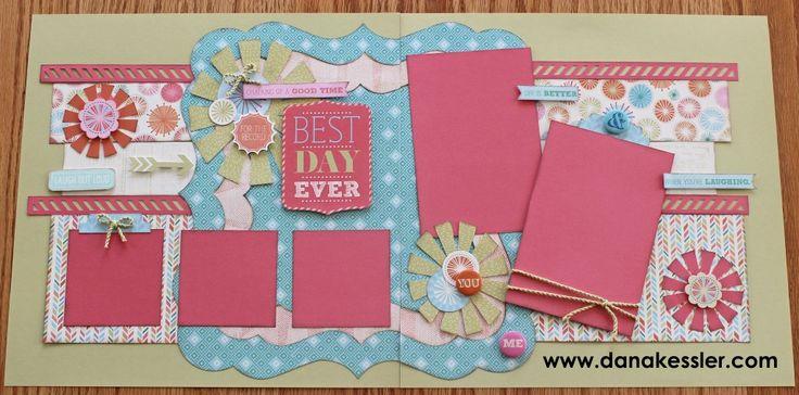Hopscotch Two Page Scrapbook Layout WOTG Fun Stars #ctmh #cricutexplore #scraptabulousdesigns