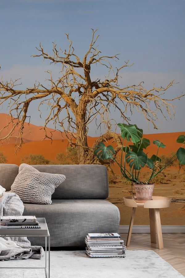Namibia Desert Wall Mural From Happywall Dune Landscape Trees Wallpaper Happywall Landscapes Africa Namibia Desert Wall Murals Landscape Walls Mural