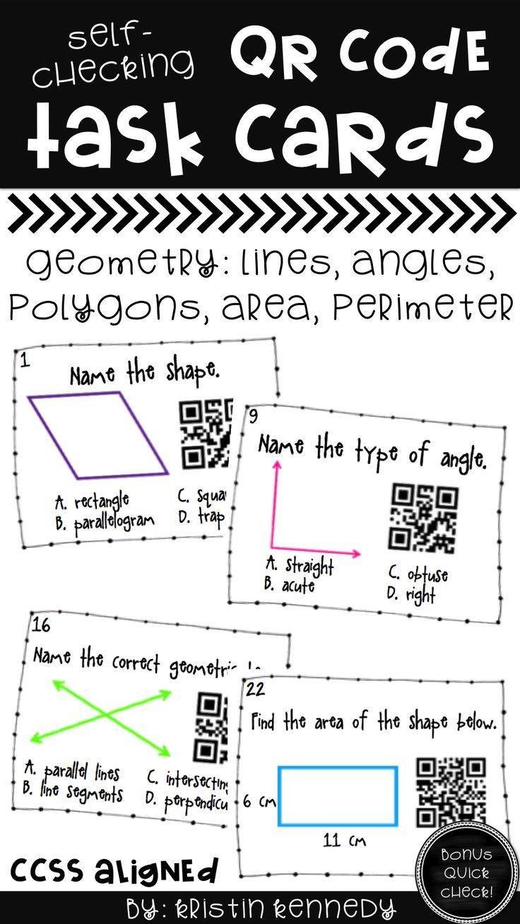 Geometry QR Code Task Cards: Looking for ideas & activities for teaching geometry (Lines, angles, shapes, area & perimeter)? Place these cards in your math centers along with an iPad or hang up around the room to use as a scavenger hunt. Easy and engaging way to integrate technology and QR codes in the classroom! (3rd & 4th Grade Common Core Aligned)
