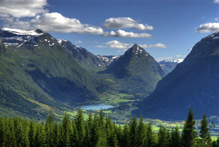 Byrkjelo, Breim, Norway.  Mtn. Eggenipa in the middle. By Bård Larsen