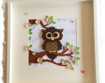 Owl Collage / 3D papercut Owl Picture - Large Shadow box frame