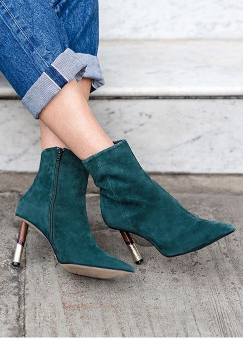 Green Mid Heel Ankle Boots.  A new statement piece to shake up your wardrobe, Raine from KG Kurt Geiger is set in emerald green with a chic pointed toe and a hybrid feature heel giving 80mm of attention-grabbing height. How ankle boots should be this season.