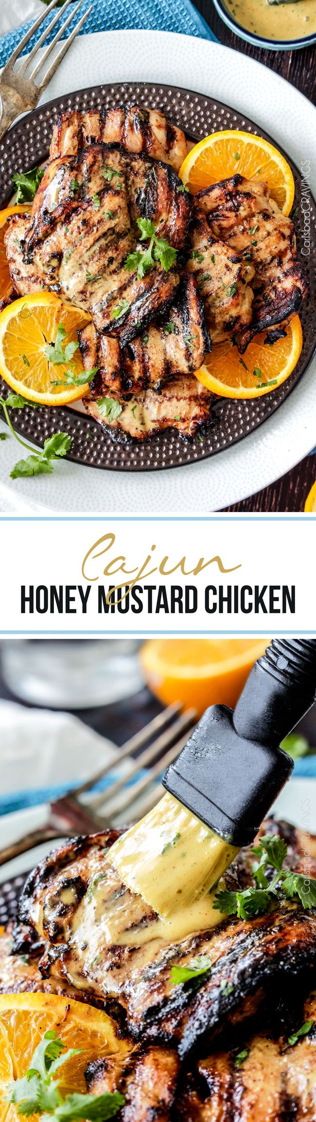 Cajun Honey Mustard Chicken - Smothered in a creamy honey mustard sauce - an easy marinate ahead weeknight meal or delicious enough for company!