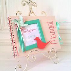 Livre d'or baptême rose corail - vert d'eau - origami - sur commande - l'instant c