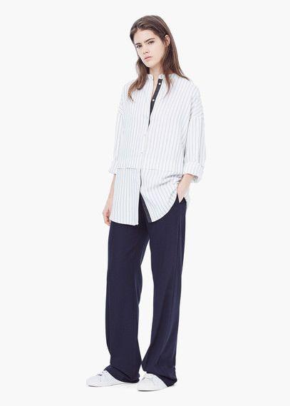 Объемная рубашка в полоску | MANGO