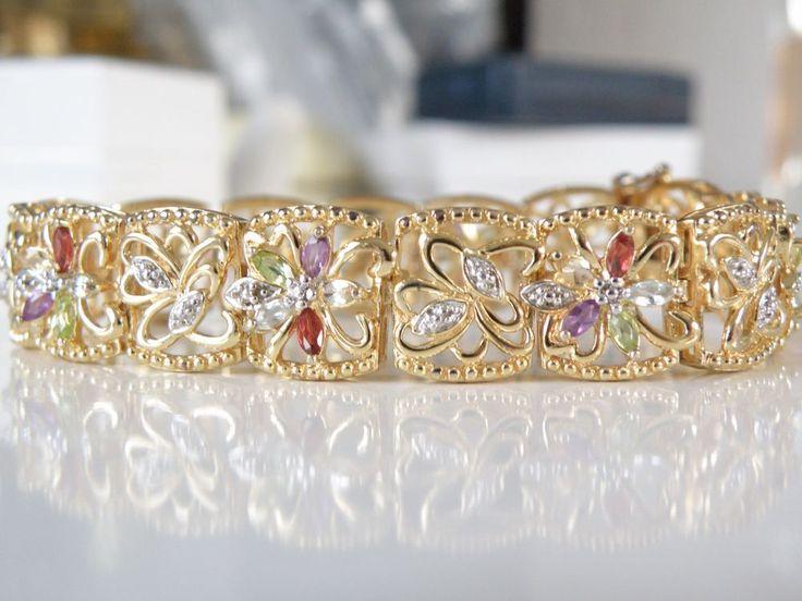 "New 18k Gold Sterling Silver Genuine Gemstone Diamond Station Bracelet 7.5"" #Designer #Tennis"