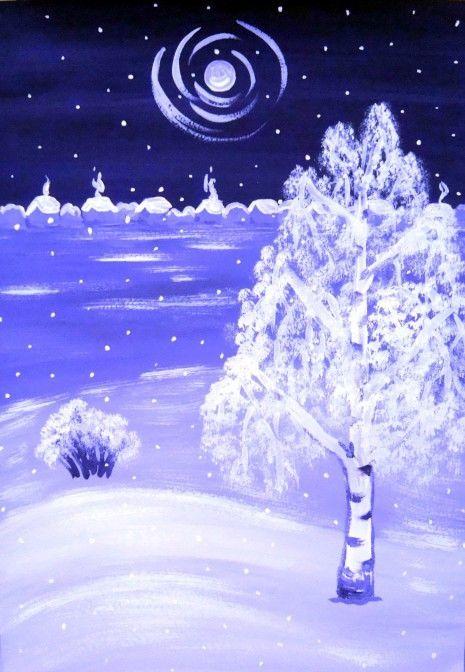 «Зима в оттенках фиолетового»— мастер-класс по рисованию гуашью с детьми 6–8 лет.  Фото