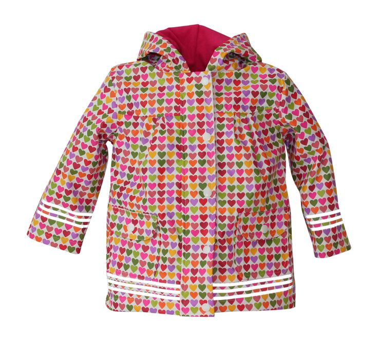 i Rock the Block Girls' Hi-Vis Rain Jacket  Hearts