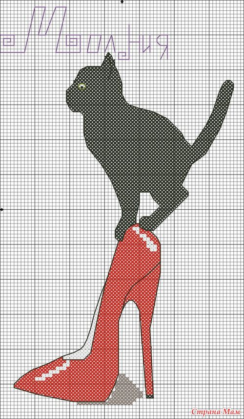 Black cat on red high heel shoe cross stitch pattern