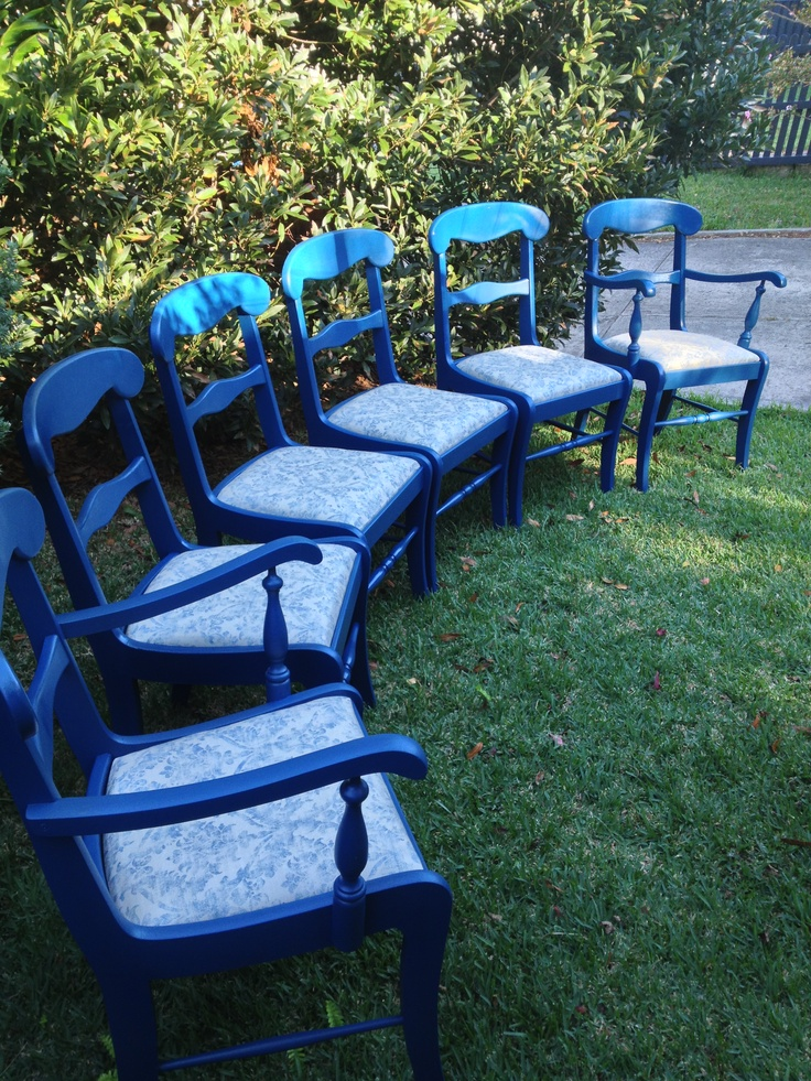 Beautifully Restored Blue Dining Chairs. Reupholstered in stunning cotton damask. $265ea Chairs 4 available. $280ea Carvers 2 available.