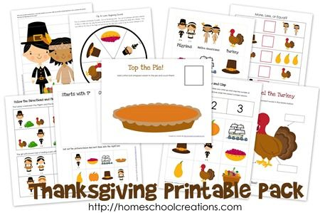 Thanksgiving Unit Printables for preK and K ages from Homeschool Creations. Includes tracers, beginning sound cards, syllable counting, label the turkey and more.