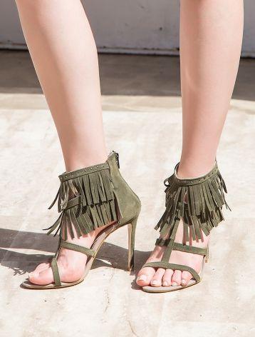 Luciana Haki Yeşil Süet Püsküllü Topuklu Sandalet