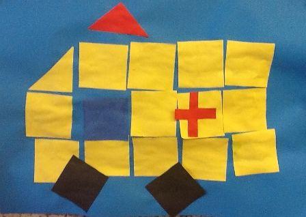 Ambulance van blokjes Vouw een geel vouwblaadje in 16 vierkantjes. Knip de vierkantjes uit. Leg een ziekenauto van de vierkantjes. Geef de ziekenauto wielen, een kruis en een zwaailicht.
