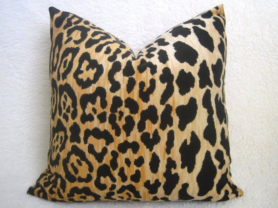 Designer Leopard Velvet Pillow  Gold  18 inch  by WillaSkyeHome, $52.00