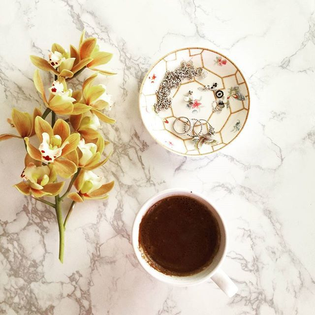 Cup of coffee...  Good morning☕🌻📿  #goodmorning  #bonjour #coffee #coffeeoftheday #orchid #pandora #follifollie #fashiondetails #spring #fashion #flower #stylish #fashionista #flatlay #jewlery #jewelryoftheday #instagram #fashiongram #instastyle #lifestyle #discoverunder100k #blogpromotion #instagood #instadaily #style #fashionstyle #photooftheday #bloggerlife #fashionblog #zkstyle