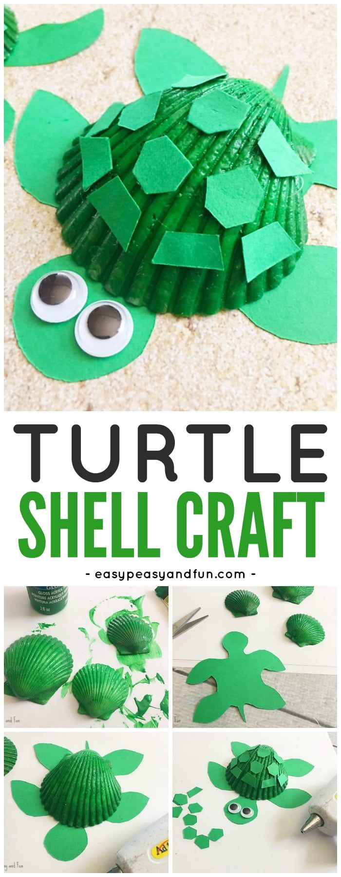 Adorable Seashell Turtle Craft for Kids from @easypeasyandfun They have so many precious arts and crafts ideas that your children will adore-colors, textures, animals. They are all easy to do, and they encourage creativity-they will keep your little ones busy this summer, and if you are a preschool-K teacher, you'll love these too!