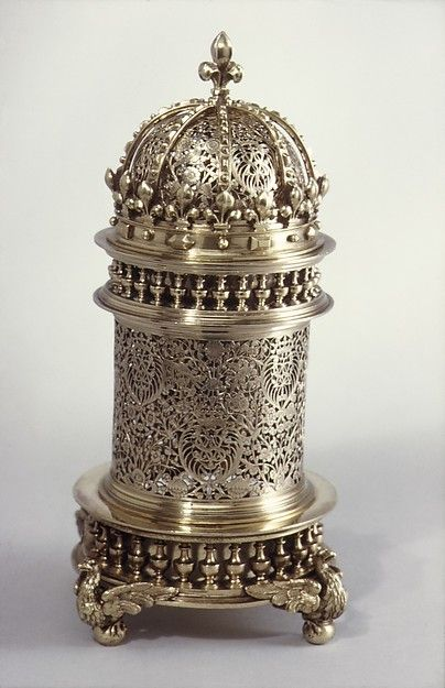 Perfume burner Date: 19th century Culture: probably French Medium: Silver gilt Dimensions: H. 9-1/4 in. (23.5 cm.) Classification: Metalwork-Silver