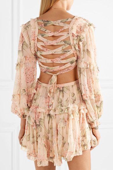 f4c699baaddb2 Zimmermann | Prima cutout ruffled floral-print silk-georgette mini dress |  NET-A-PORTER.COM