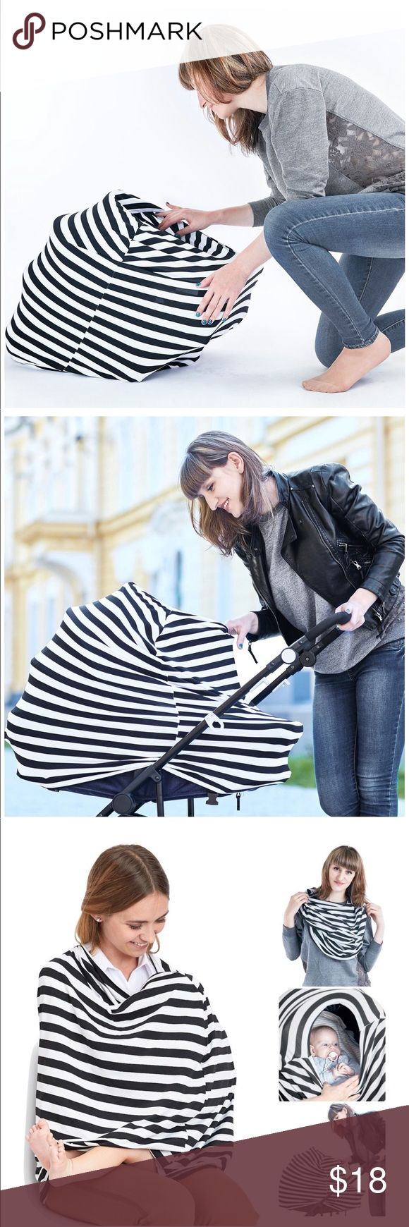 Baby Car seat Cover and Breastfeeding Scarf Nursing Cover Breastfeeding Scarf, Baby Car Seat Canopy, Shopping Cart, Stroller, Carseat Covers for Girls and Boys, Best Multi-Use Infinity Stretchy Shawl BBTKCARE Accessories