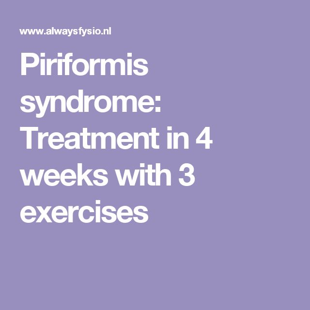 ~!~!~!~ Piriformis syndrome: Treatment in 4 weeks with 3 exercises