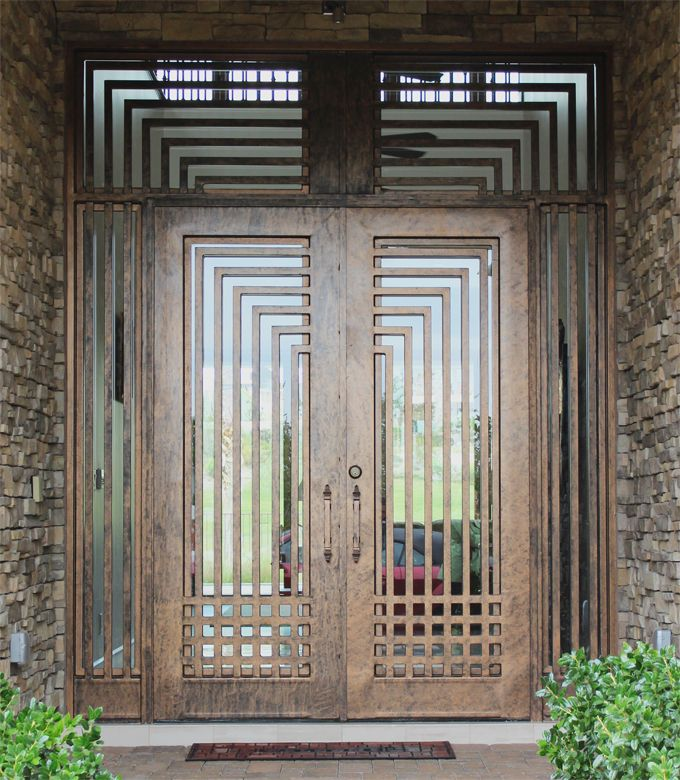 Front Entry Gate, hand made with steel plate and flat bar.