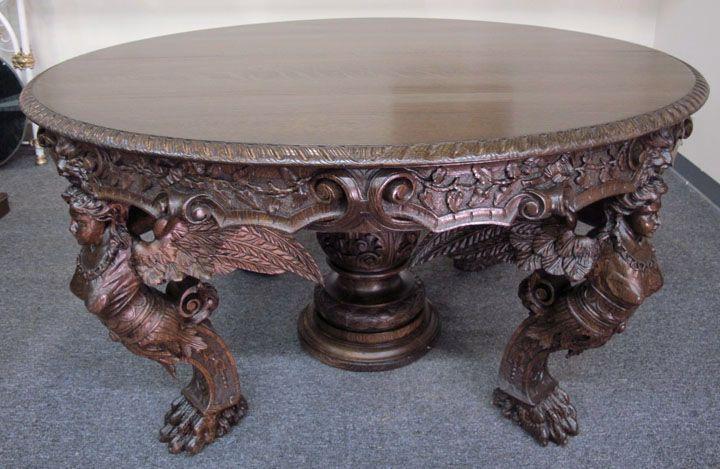 Rj Horner Antique Quartersawn Oak Winged Lady Dining Table