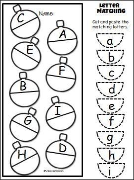 Christmas Uppercase Lowercase Cut and Paste Activity for PreK and Kindergarten. Free.