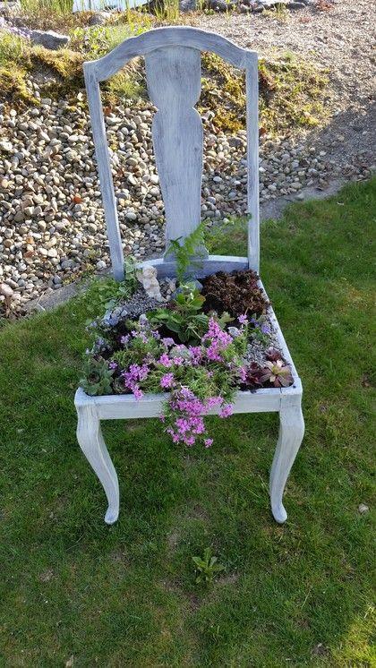 Stuhl Im Shabbylook Bepflanzt Garten Deko Container