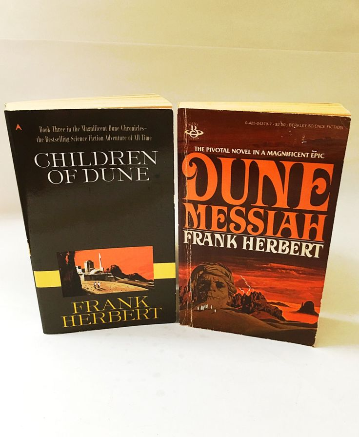 Frank Herbert's Dune books.  Two vintage Dune paperbacks of the trilogy including Dune Messiah and Children of Dune.  Dune Chronicles. by VintageBookworms on Etsy