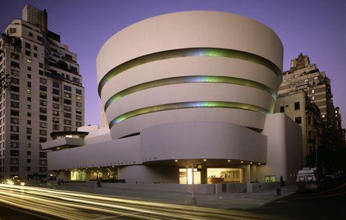View of Solomon R. Guggenheim Museum exterior, http://www.guggenheim.org/new-york/about/frank-lloyd-wright-building#